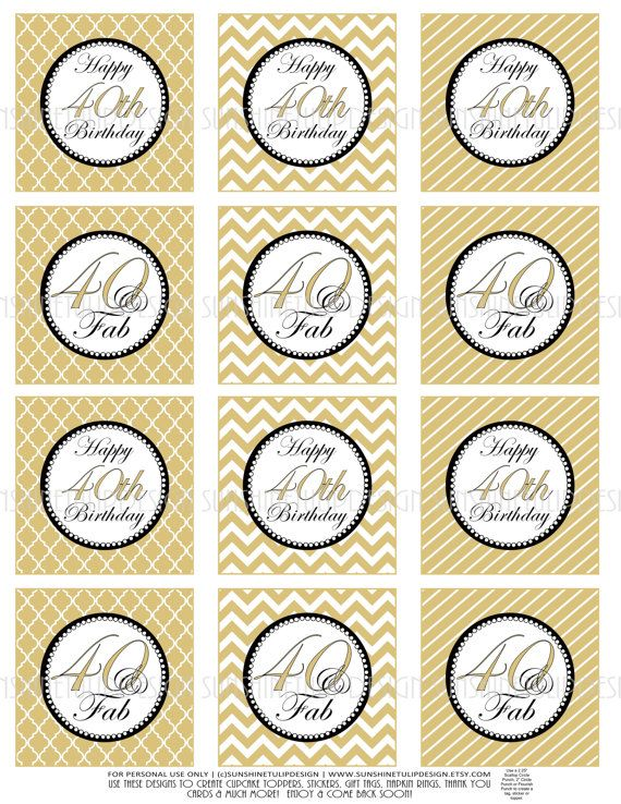 40th Birthday Cupcake Toppers Printable Gold And Black