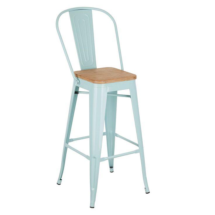Replica Xavier Pauchard Replica Tolix Wooden Seat Blue Bar Chair   Zanui.com.au