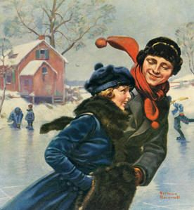 couple ice skating | Norman Rockwell