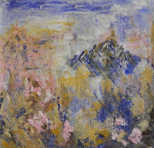 Amandelbloesem | acryl op papier op mdf | ca 56 x 56 cm | © Irka Stachiw #acrylic #painting #art #blossom