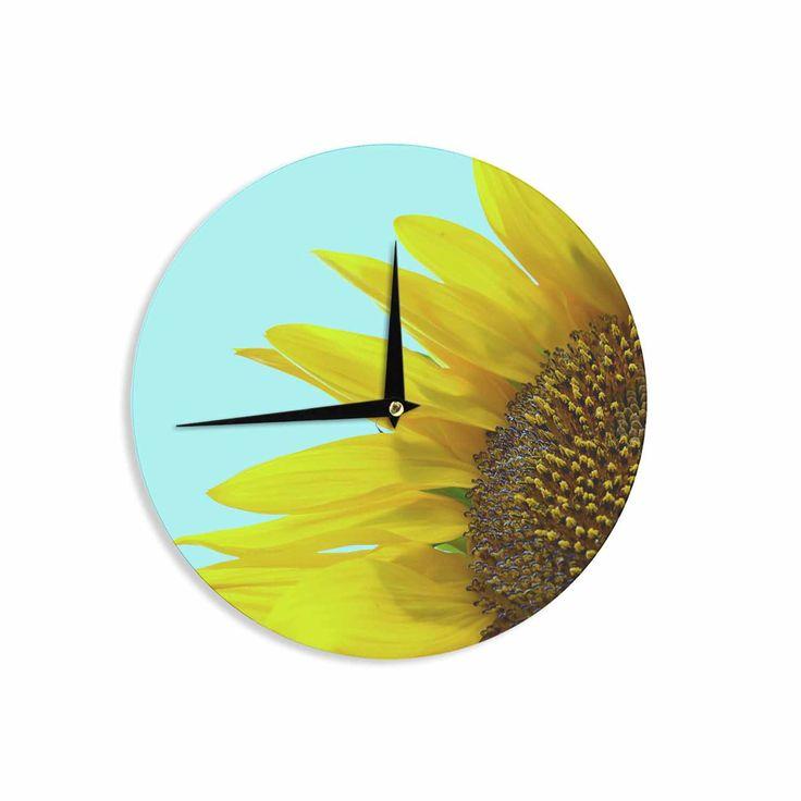 """Richard Casillas """"Sunflower Mint"""" Yellow Teal Wall Clock"""