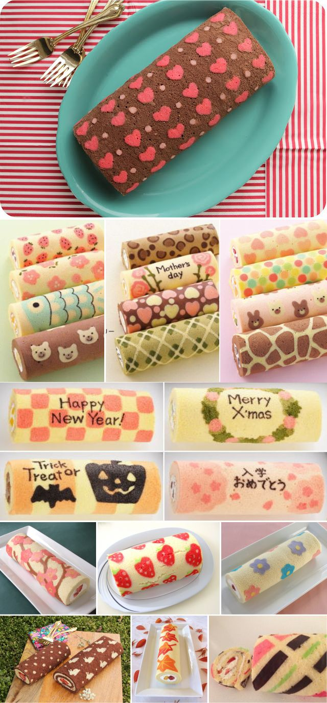 Patterned Cake Roll... so  cute and so simple... have to try it                                                                                                                                                                                 Más