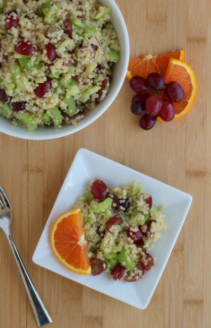 Quinoa, Grape & celery Salad (with orange zest). Sounds different and yummy. Will leave feedback once I try it