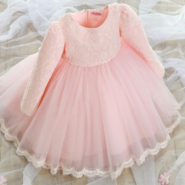 "Pre-order: The ""Reina"" Long Sleeve Pink Lace Dress Flower Girl Dress"