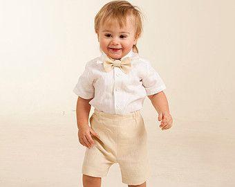 Bebé niño traje de lino anillo portador traje boda por Graccia