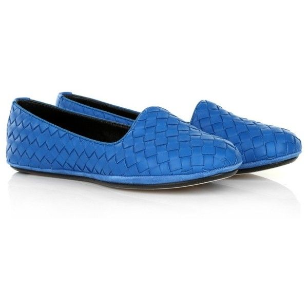 Bottega Veneta Slipper Pelle S.Cuoio Intrecciato Nappa Signal Blue  in... (13.440 RUB) ❤ liked on Polyvore featuring shoes, slippers and blue