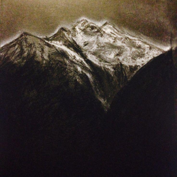 Mystical mountain, chalk pastel on black paper. Steve Hurt