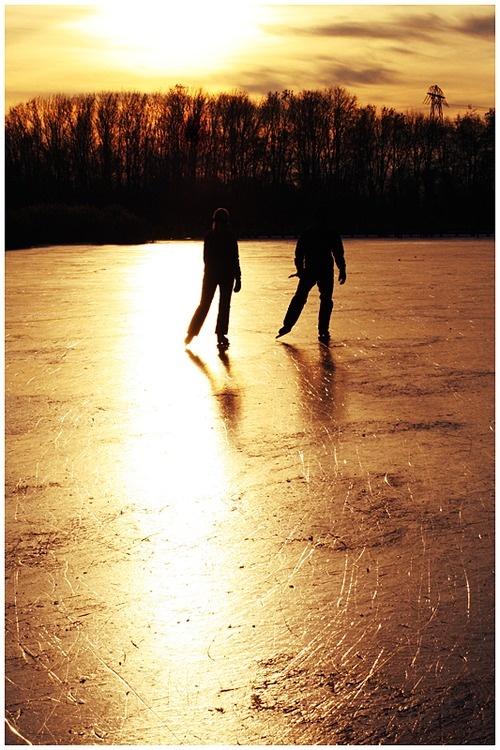 ice skate at sunset