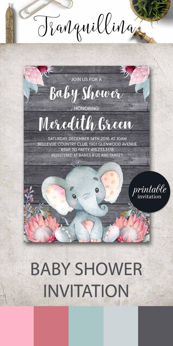 Pink Elephant Baby Shower Invitation Girl Baby Shower
