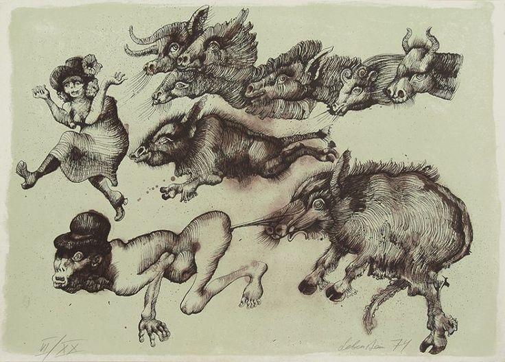 "Jan Lebenstein, de la serie ""Granja Animal"". Litografía a color sobre papel, 50 x 70 cm, 1974 | Neofiguracionismo"