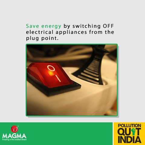 We often switch off our AC's, TV's and other appliances, but we leave the plug point switch on. However, power is still being consumed in 'stand-by mode'. #SaveEnergy