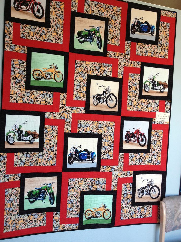 A Good Way To Use A Panel Of Motorcycle Fabric Quilts