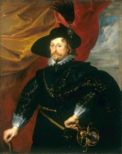 "Peter Paul Rubens (1577–1640) his court painter Title 	Portrait of Prince Władysław Vasa. Descriptor 	 Pendant of Portrait of Sigismund III Vasa. Date 	1620s Medium 	oil on canvas Dimensions 	125.1 × 101 cm (49.3 × 39.8 in) Current location :Wawel Castle  Object history 	 1620s: commissioned by Władysław Vasa 1669: transferred to John II Casimir Vasa, Paris Notes 	In 1624 the French ambassador wrote from Brussels: ""Rubens is here to take the likeness of the prince of Poland, by order of the…"