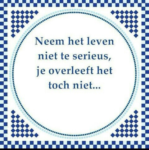 Dutch quote. Translation: Don't take life too seriously, you don't survive it.