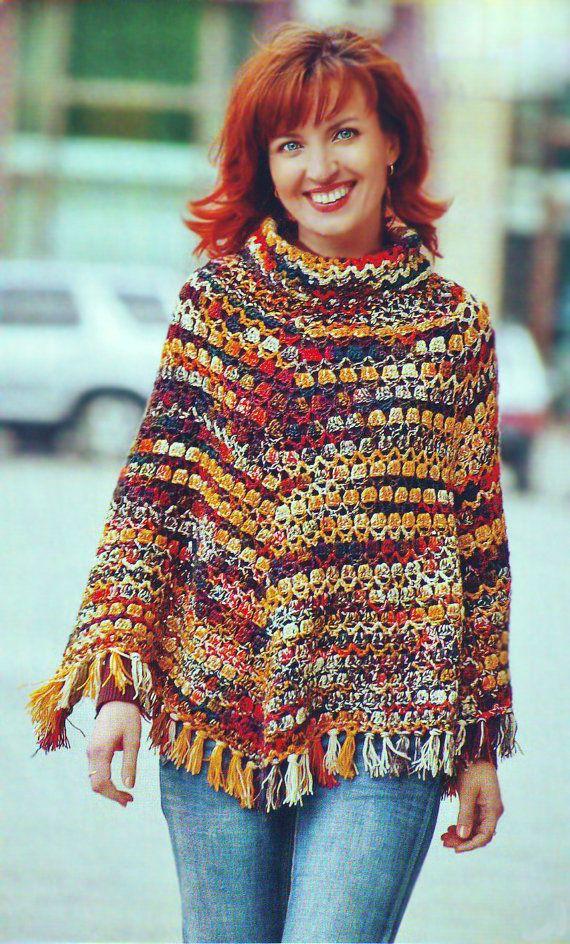 Crochet para niñas y mujer nueva fresco Poncho con sombrero patrón de instrucciones, archivos PDF