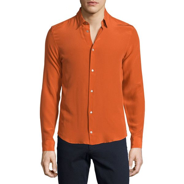 CoSTUME NATIONAL Button-Front Woven Dress Shirt ($535) ❤ liked on Polyvore featuring men's fashion, men's clothing, men's shirts, men's dress shirts, orange, mens longsleeve shirts, mens silk dress shirts, mens orange dress shirt, mens slim fit shirts and mens orange shirt