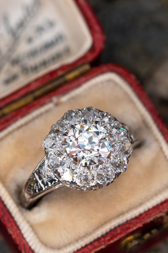 090fa8d894d Old European Cut Diamond Engagement Ring Old Mine Halo | Ring Bling ...
