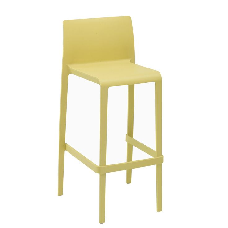 The volt modern bar stools are made in Italy and provide superior comfort, flashy colors and stacking for easy storage. An all-weather poly carbonate injection mold guarantees for strength up to 250 pounds of continuous use and longevity.