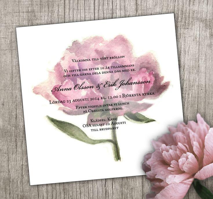 #inbjudningskort bröllop #bröllopsinbjudan #pion   #akvarell Anna Göran Design - Pion transparent  #peony