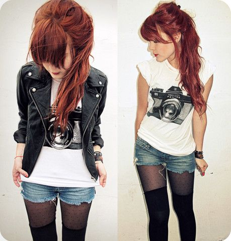 Camera shirt... cute!: Fashion, T Shirt, Style, Clothes, Camera, Outfit, Rock, Hair Color