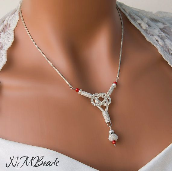 Fine Silver Celtic Love Knot Necklace, Y Drop Necklace, OOAK Jewelry, Nautical…