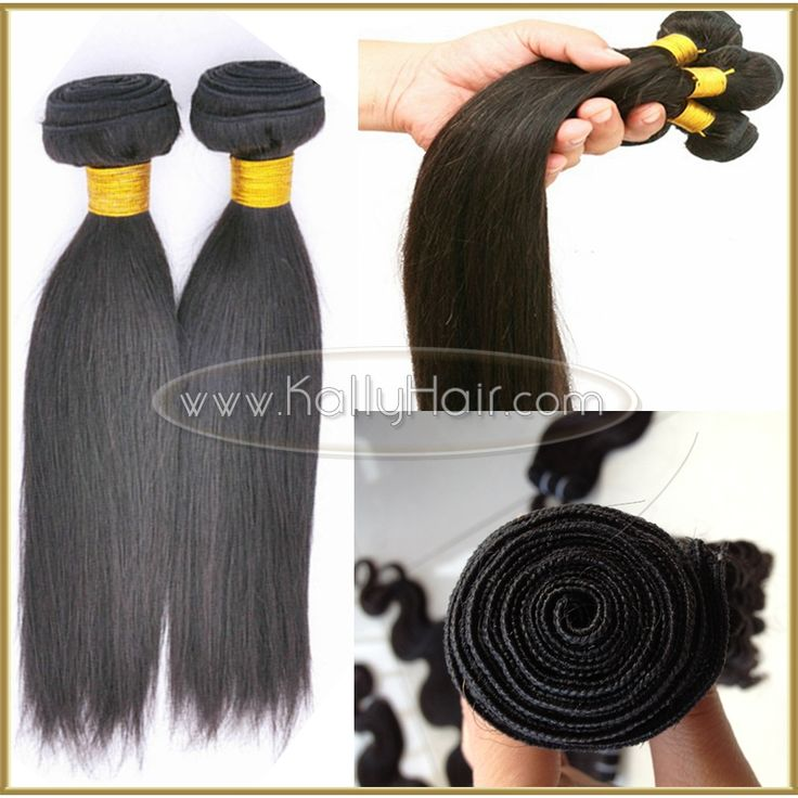 Best Quality 16inch Straight Virgin Brazilian Natural Black Human Hair Weave Wholesale
