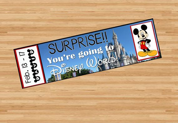 Surprise! You're going to Disney World! These tickets are an awesome way to surprise someone with a trip to Disney World!! https://www.etsy.com/listing/502926507/printable-ticket-to-disney-world-with
