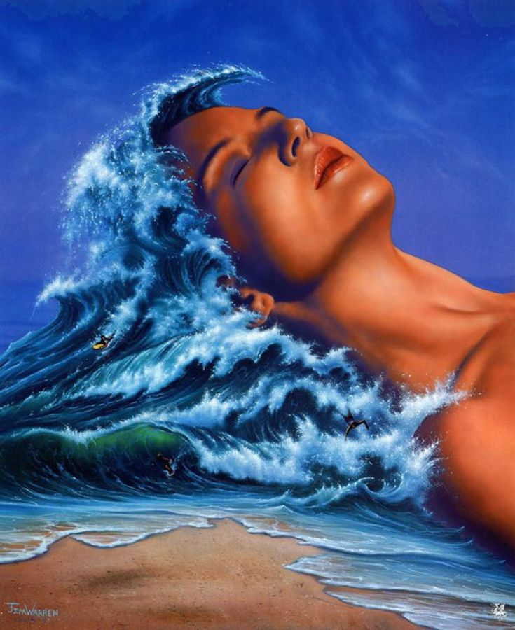 The Girl with the Wavy Hair * Artist Jim Warren Fantasy Myth Mythical Mystical Legend Whimsy Hidden Surreal Nature
