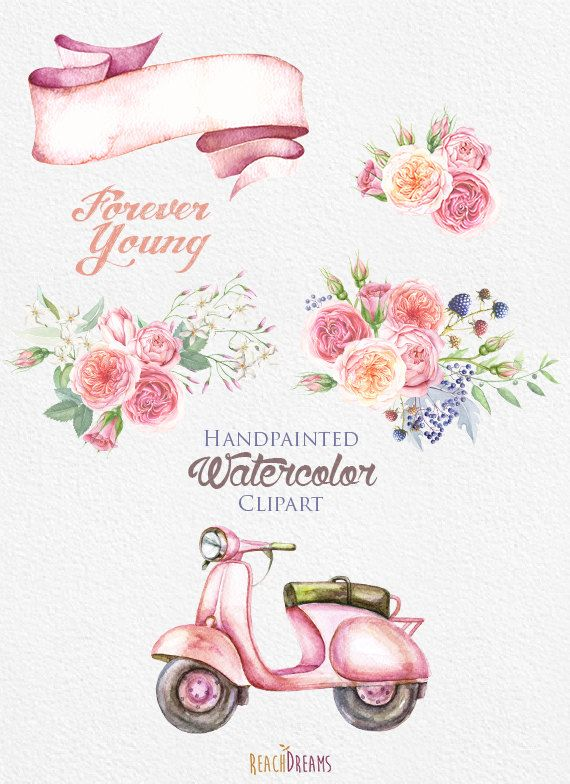 Watercolor Retro Moped with Floral Bouquet of by ReachDreams