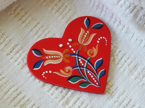 Embrace - Series 01 - red, handpainted wood laminate heart inspired by traditional, historic Transylvanian style