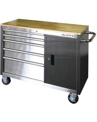 Husky Workbenches & Workbench Accessories: Husky Work Benches 46 in. 5-Drawer and 1-Door Stainless Steel Mobile Workbench…