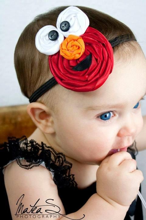 Elmo inspired satin ribbon rosette by ShannonLynCreations on Etsy, $6.50