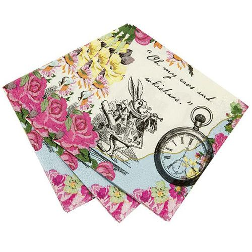 Our Alice Tea Party Napkins will add a touch of wonder to your guest table. They coordinate to perfection with our Alice Tea Party Plates and Teapots! Quantity: 30 Napkins per pack in 2 designs featur
