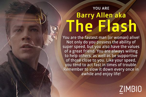 Which Character from 'The Flash' Are You? I got the Flash... Watch it on Tuesdays at 8:00 on the CW channel
