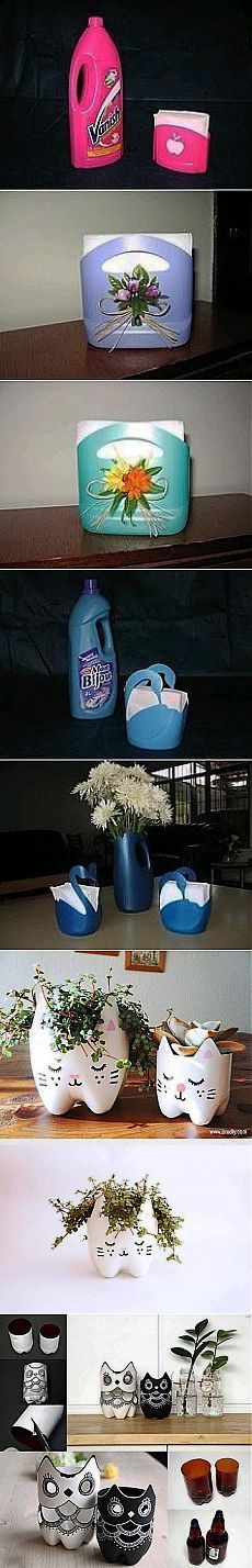 Plantadores, porta-guardanapos de garrafas de plástico.  Somente Ideias |  Mãos hábeis