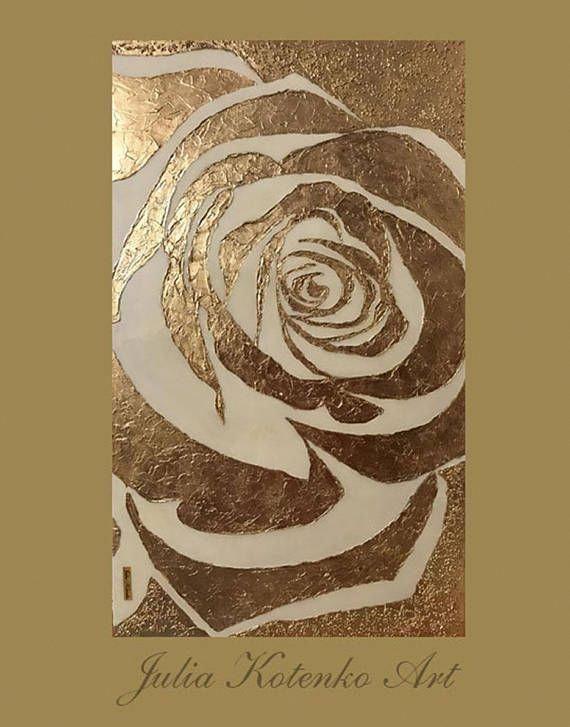 Abstrait Rose Peinture A L Huile Feuille D Or Peinture Grande Sur