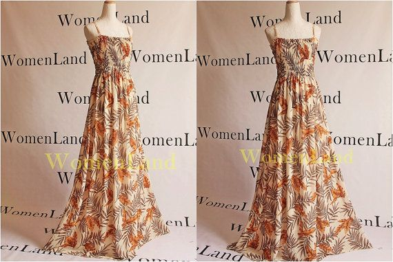 Chiffon Summer Maxi Full Length Handmade Beige Yellow Brown Leaves Prints Bridal Wedding Party Tall Bridesmaids Dress
