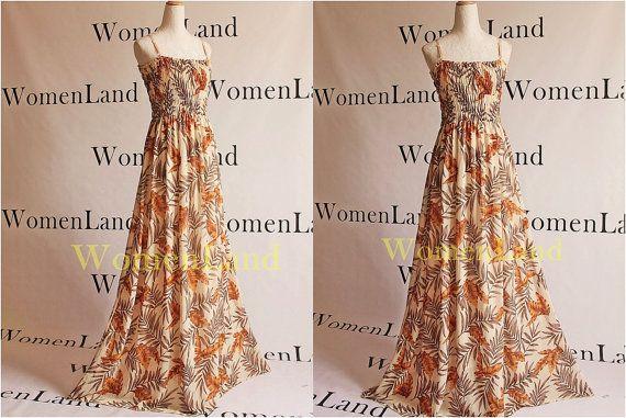 Chiffon Summer Maxi Full Length Handmade Beige Yellow Brown Leaves Prints Bridal Wedding Party Tall Bridesmaids Dress