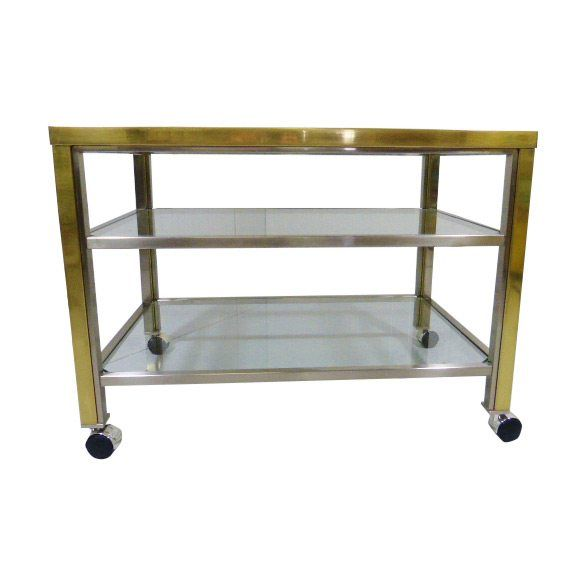 Brass & Chrome Serving Trolley Side Table Maison Jansen Style