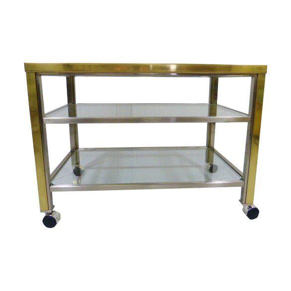 Brass & Chrome Serving Trolley Side Table Maison Jansen Style
