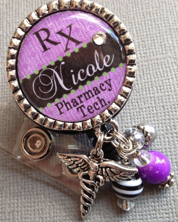 Pharmacy Tech. ID Badge Reel Personalized   by buttonit on Etsy, $19.00