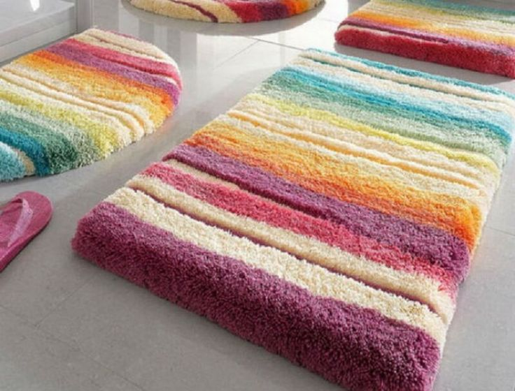 Shaggy Colorful Bathroom Rugs Set