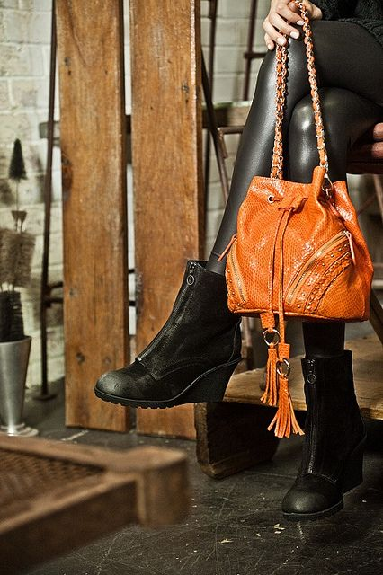 Orange Kelly Brown handbag and Fiona McGuinness suede boots