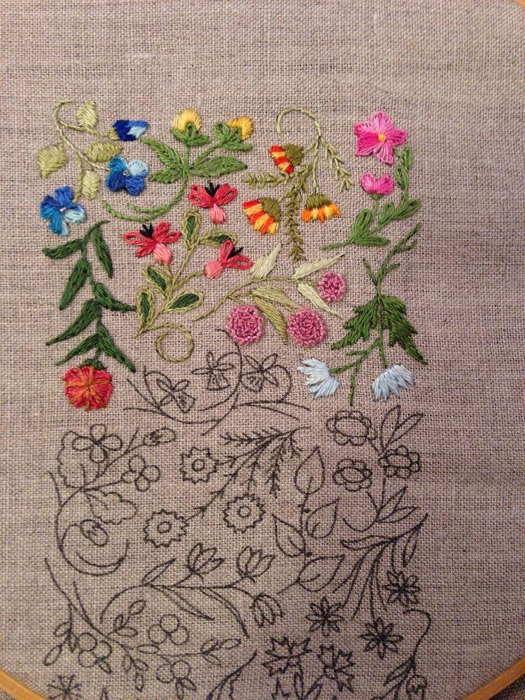 Mille Fleurs - Progress 8 straight stitch, stem stitch and long and short stitch.