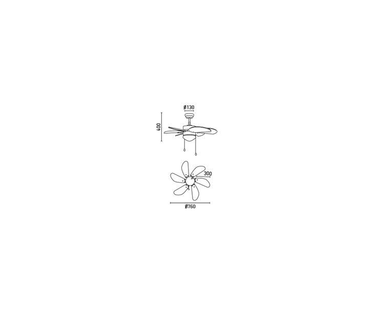 Ventilatore lampadario in acciaio e MDF marrone Palao - D 76 cm | Dalani Home & Living