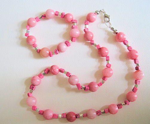 Collar, Collar para mujer, Collar en Gemas, Collar Rosado, Joyeria en gemas, Bisuteria, Necklace Pink, Accesorios Rosados, pulsera en jade, de PekitasCreations en Etsy