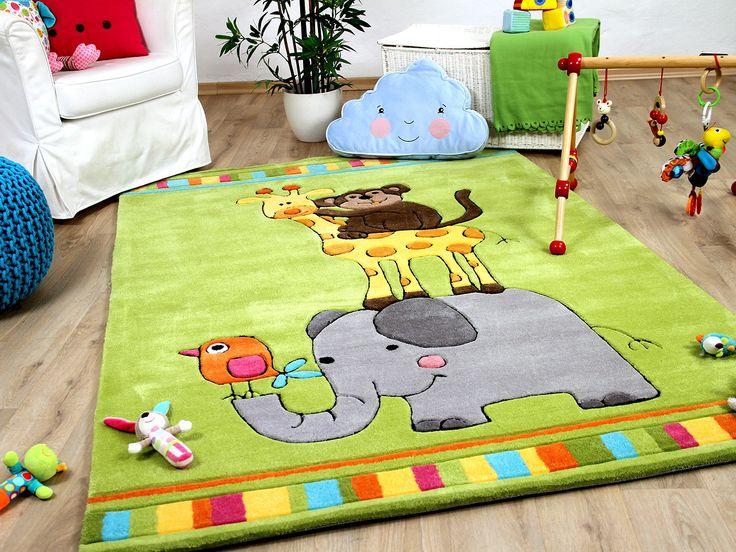 Schön Lifestyle Kinderteppich Afrika Stadtmusikanten Grün Teppiche Kinder  Und  Spielteppiche Lifestyle Kinderteppiche