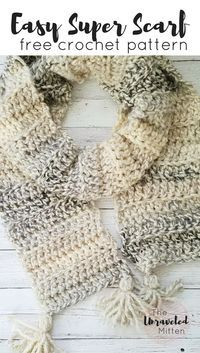 Easy Chunky Super Scarf   Free Beginner Crochet Pattern   The Unraveled MItten #crochet #freecrochetpattern #beginnercrochetpattern #crochetsuperscarf #lionbrandyarn