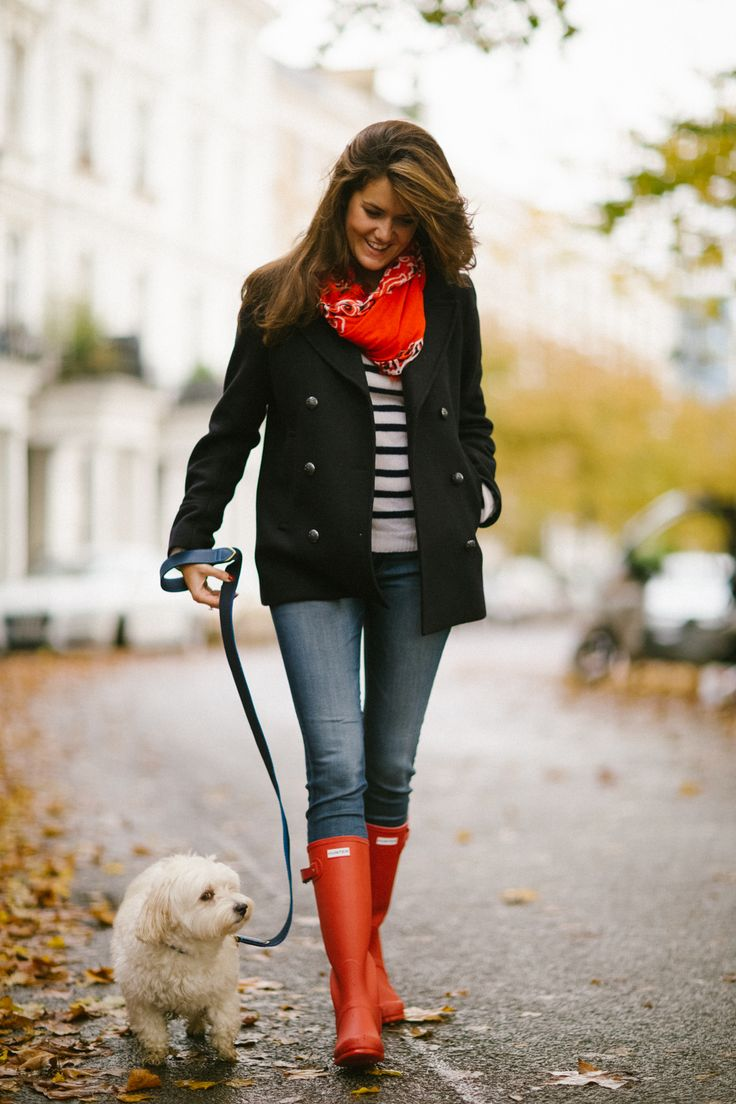 Fall style - navy peacoat, striped sweater, red bandana scarf, skinny jeans and red Hunter boots