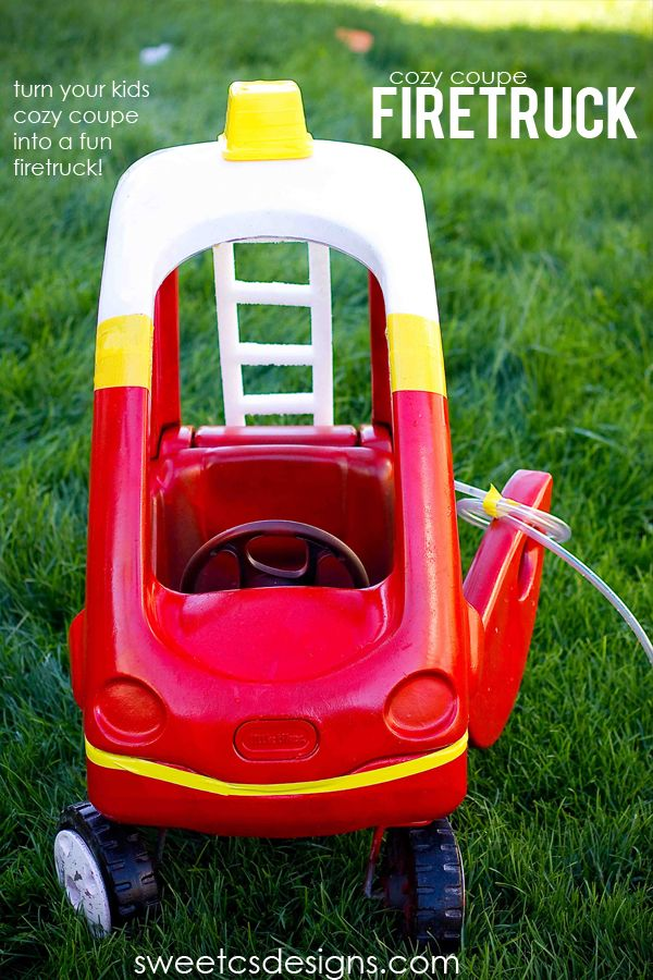 make a firetruck from a cozy coupe! #kids #halloween also cute Halloween bucket and Batman cozy coupe